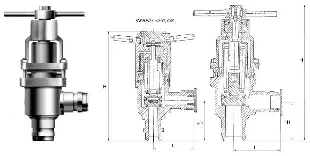 клапан угловой запорный сильфонный